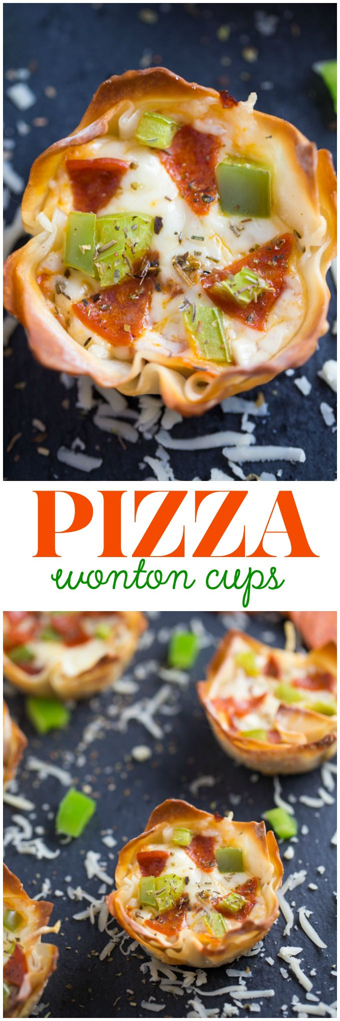 Pizza Wonton Cups - An easy appetizer baked in a crispy wonton shell and full of cheesy pizza goodness. Try them once and they may become an instant family favourite!
