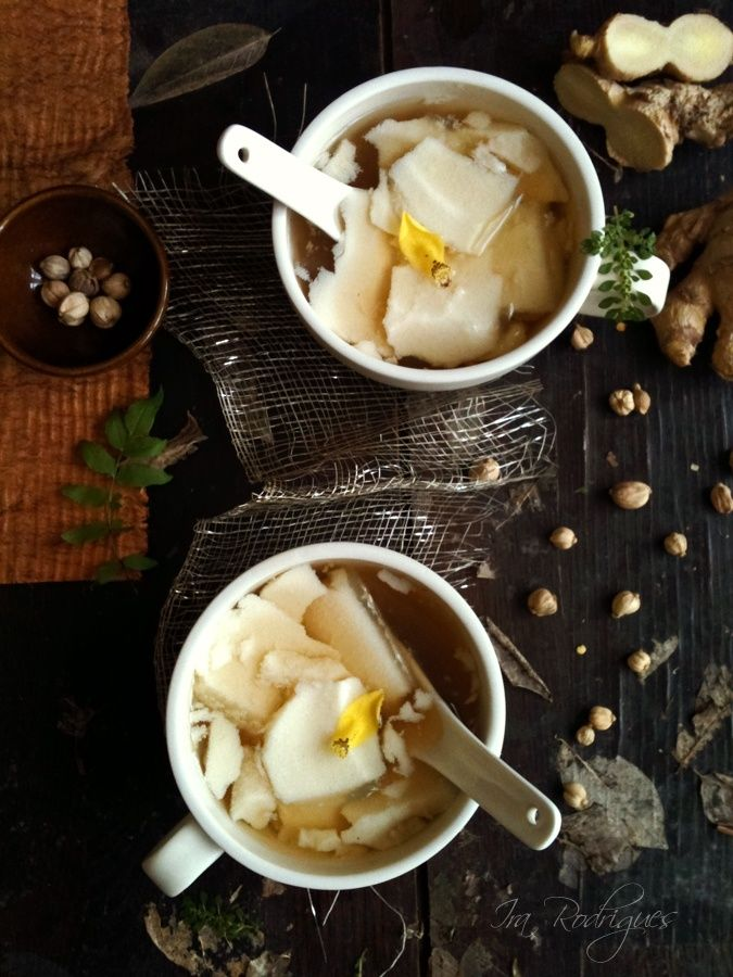 Tahwa smooth and silky tofu pudding drenched with sweet ginger syrup