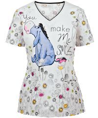 Cherokee Tooniforms Scrubs Make Me Smile Disney Print Top
