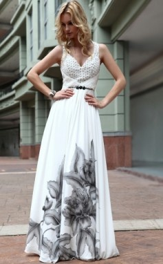 A-line/ Princess Straps Floor-length Chiffon With Pattern/ Print Beading Evening Dress