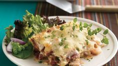 Lasagna leaves Italy and heads to the Bayou with the addition of shrimp and spicy sausage.