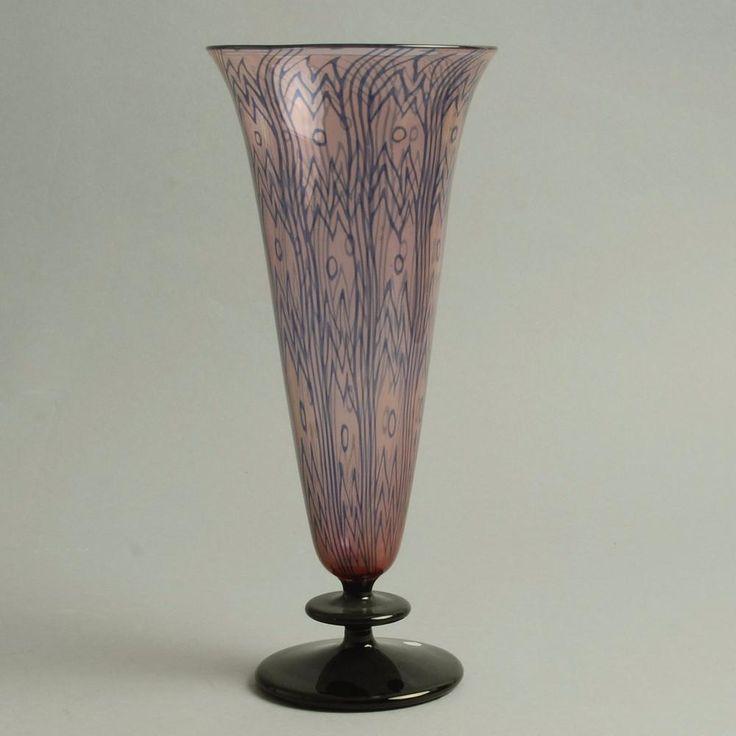 Footed glass vase by Edward Hald for Orrefors