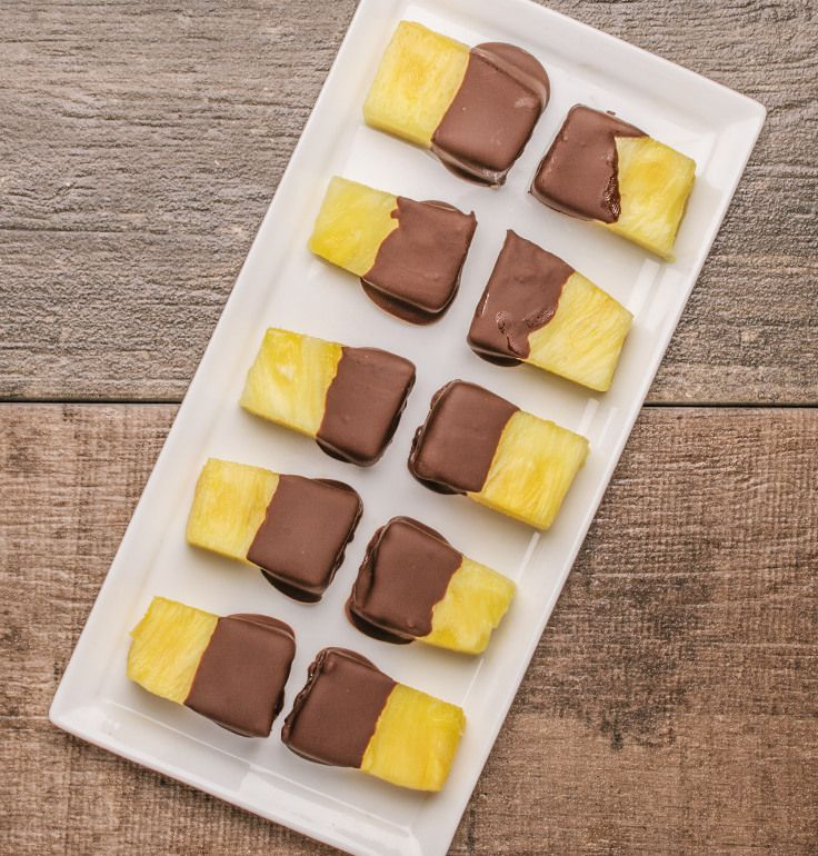 Easy Chocolate Dipped PineappleFor a special after-dinner treat that's sweet, refreshing and not too heavy, try chocolate-dipped pineapple! First, cut a pineapple into chunks (or buy it pre-cut in our...