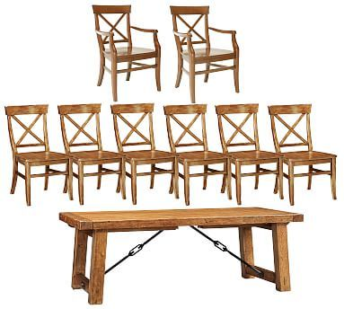 Benchwright L Table U0026 Aaron Chair Set   Vintage Spruce Finish