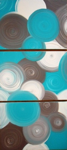 Abstract Canvas Paintings x 3 Turquoise Cream Brown | eBay