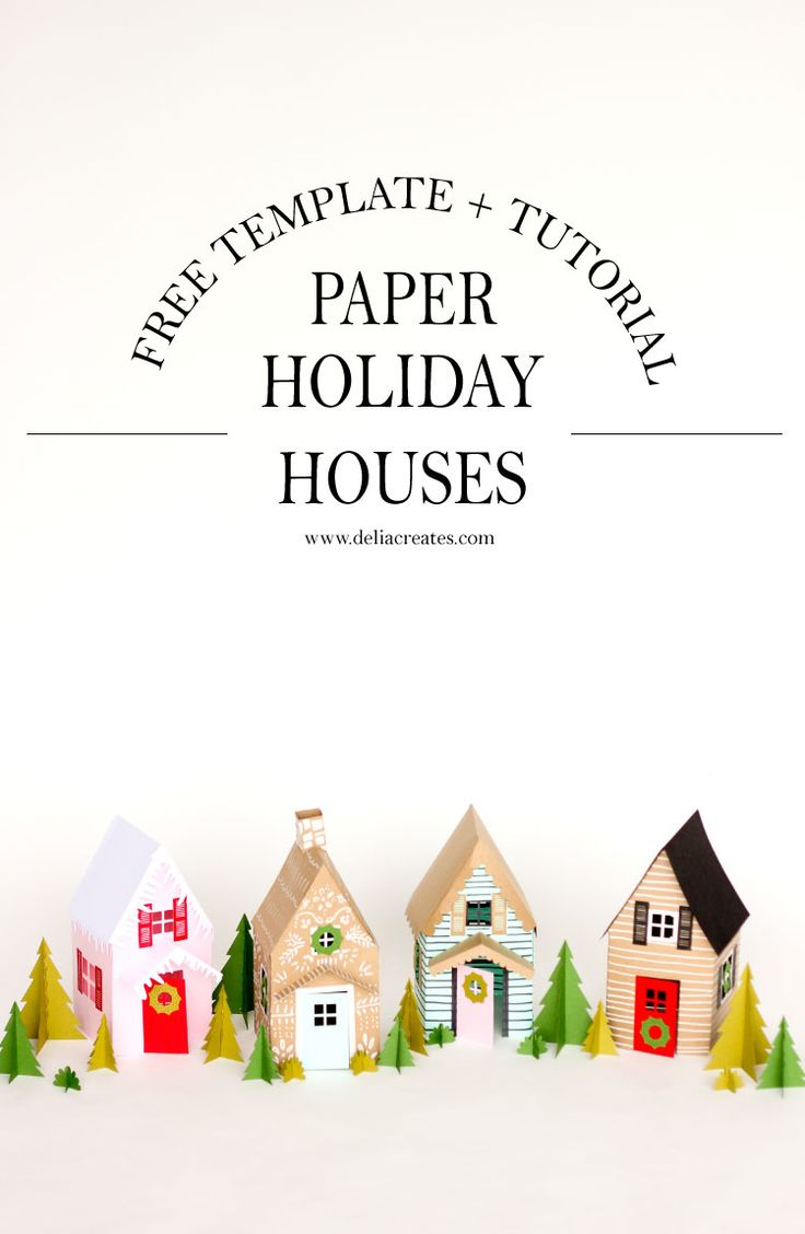 Paper Holiday Houses - free templates! // www.deliacreates.com  #MakeItWithMichaels #sponsored