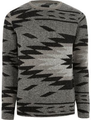 River Island Mens Grey Only and Sons aztec jumper