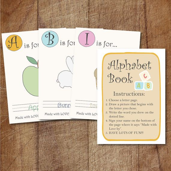 Alphabet book baby shower game printable baby s first for Baby shower game booklet template