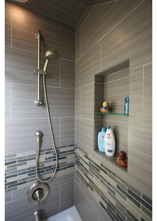 classic home decor ideas contemporary full bathroom with recessed shower niche ceramic shower tile handheld showerhead - Wall Designs With Tiles