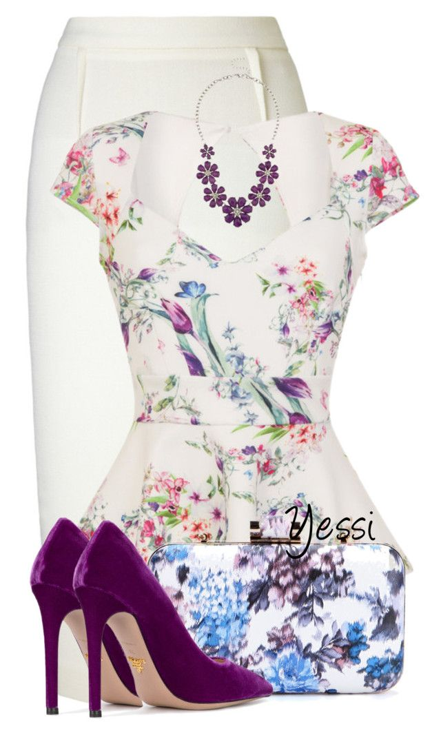 ~ Floral ~ by pretty-fashion-designs on Polyvore featuring Roland Mouret and Prada