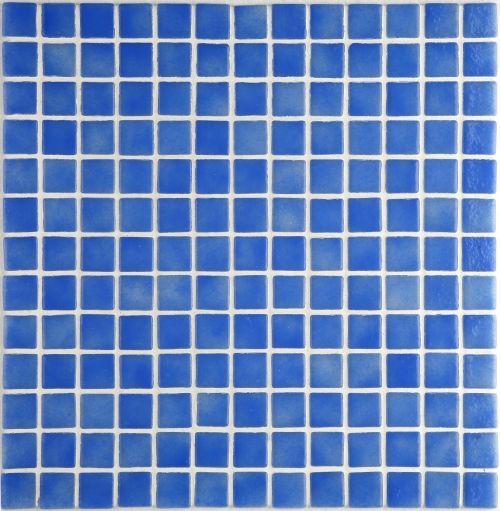 Indigo - Mottled mid-blue gloss-finish glass mosaic. Chip size 2.5x2.5cm.