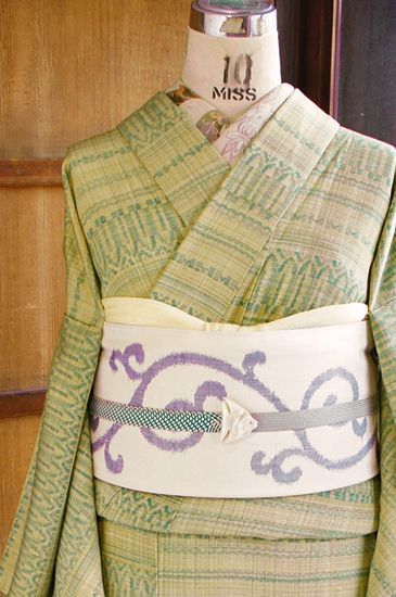 Zelená krásné folklór pruh je osvěžující lemovaná kimono - online shop ■ □ □ ■…