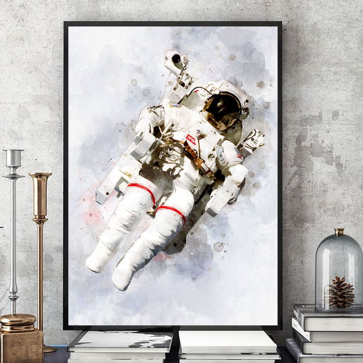 NASA Poster, Astronaut Poster, NASA Print, Space Art, Astronaut Wall Art, Watercolour SpaceWalker, Kids Room Decor, Giclee Art (N311) by PointDotPrints on Etsy