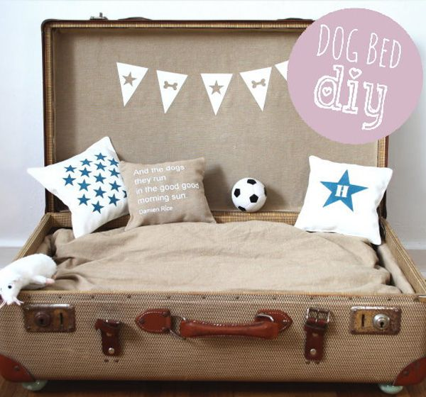 Portable suitcase dog bed