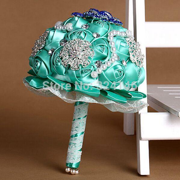 Синий шелковые свадебный букет прекрасная жемчужина невесты букет невесты мяч - цветок(China (Mainland))