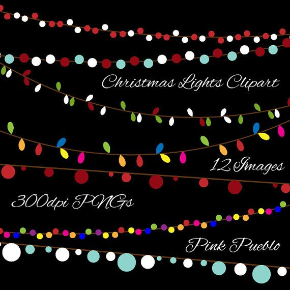 Christmas Lights Clipart Clip Art Holiday Lights by PinkPueblo