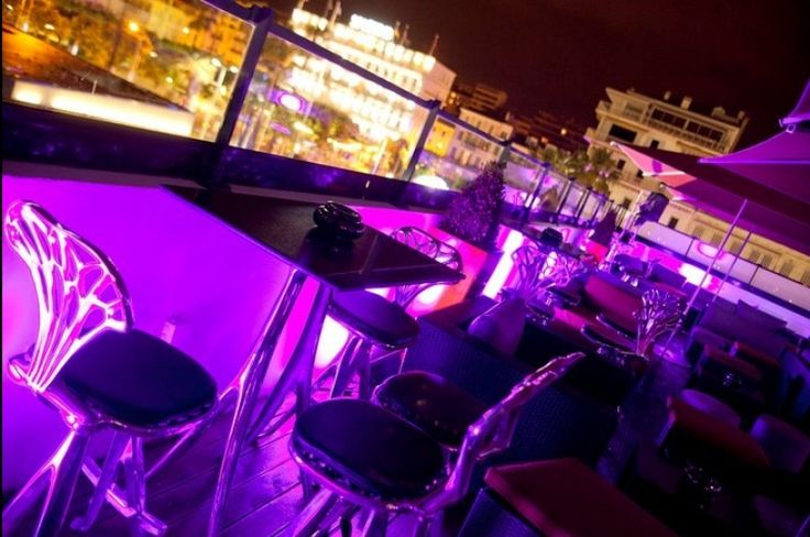 Our Aluminum Cast Furniture designed by Quasar Khanh, on the terrace of Les Marches Night Club, Cannes, France