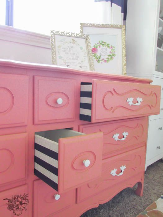 French Dresser with perfectly striped drawers Pocketful of Posies