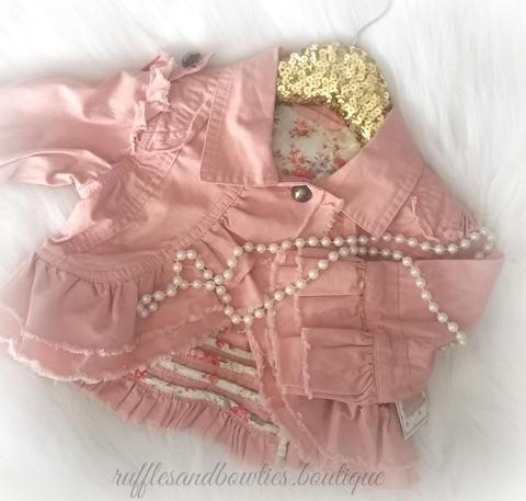Kryssi Kouture Dusty Rose Disctressed with Ruffles Denim Jacket - Fall Jacket - Baby Girl Dusty Rose Distressed Coat- Fall Baby Fashion - Baby Denim Jacket