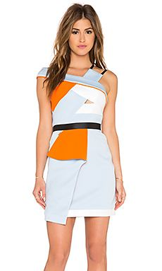Three Floor Reverie Geometric Dress in Blue & Orange