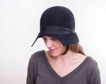 Cappello Cloche nero / inverno romantico autunno orlo piccole donne nere modisteria cappello 1920. cappello cloche stile / moda