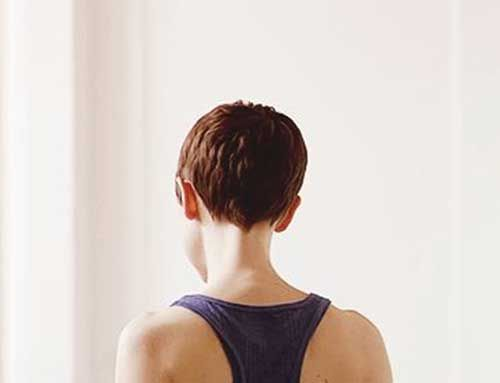 Brown Hair Short Pixie Back View
