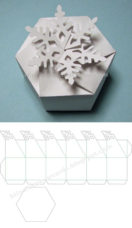 Snowflake twist top gift box - from Carol at Extreme Cards & Papercrafting (in PDF, DXF, GSD & SVG). Cut file with Cricut Explore