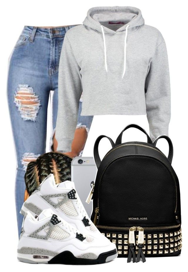 """Cool Grey"" by f0rever-d ❤ liked on Polyvore featuring Boohoo, MICHAEL Michael Kors and Retrò"