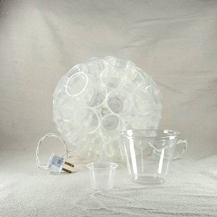 and the mini-est #sparkleball made with Dart 1 oz portion cups.  hot-glue, 14-11-6-1 pattern, and only 20 clear bulbs.