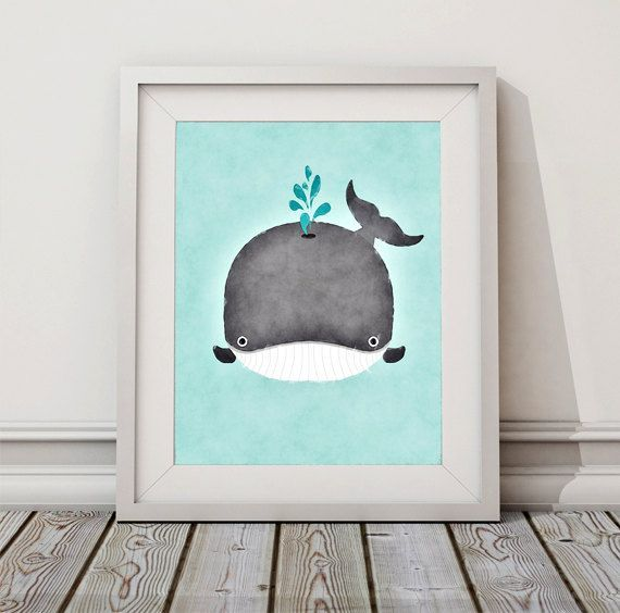 Baby Whale Watercolor Whale Art Whale by ToobigshoesCreative