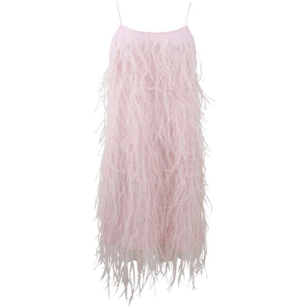 Michael Kors Ostrich Feather Mini Slip Dress (€3.465) ❤ liked on Polyvore featuring dresses, skirts, платья, evening dresses, pink dress, mini dress, evening cocktail dresses and knee length evening dresses