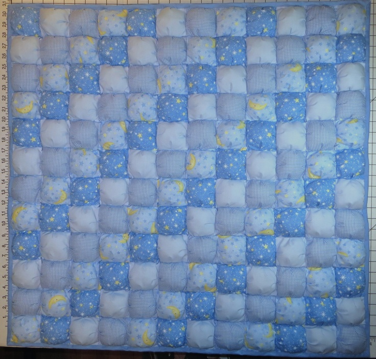 Baby Boy Blue Puff Quilt Biscuit Quilt Baby Or Crib Size