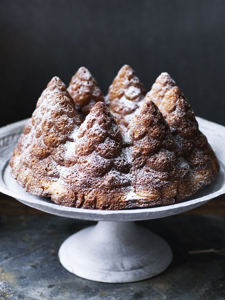 """Give a simple vanilla cake a """"sprucing up"""" in a Christmassy tin. Magic! By Nigella Lawson."""
