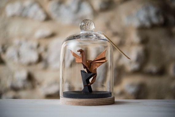 Origami Sculpture Dragon. Taxidermie. Game Of Thrones. Decoration cuivre. Medieval. Cadeau pour lui. Fete des pères. Cabinet de Curiosités