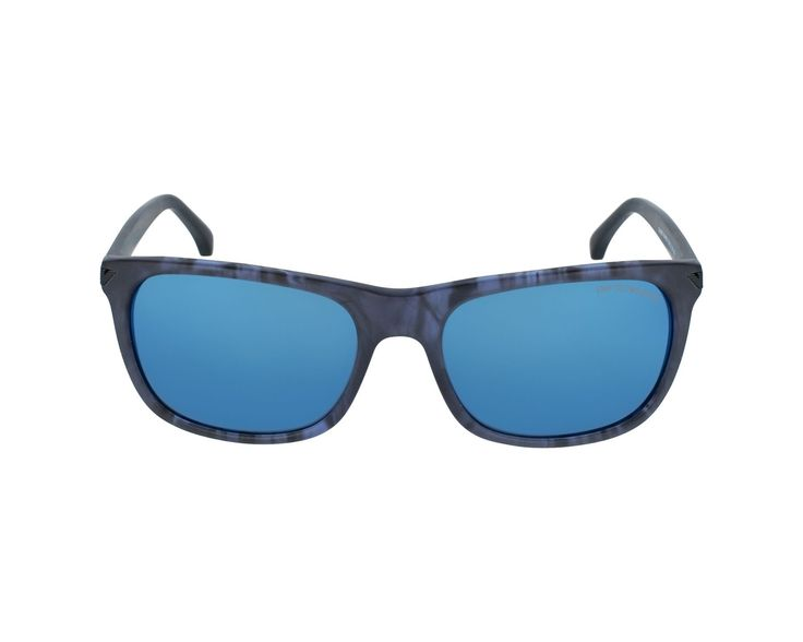 Occhiali da Sole MOD. 4056 SOLE ACETATO. Femme style. Frame material: Plastic. Manufacturer reference: EA4056 5549/55. Primary frame color: Transparent Blue, secondary color: Black. Grey with Blue mirrored style lens.