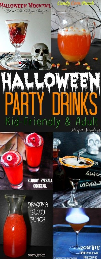 Halloween Party Drinks that include kid-friendly punches and adult cocktails. Every recipe is Halloween-themed and great for your Halloween party - Harper Mondays