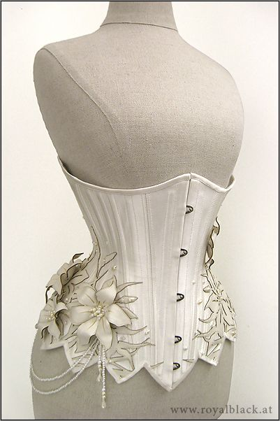 """""""White Lilies"""" Underbust Corset by Royal Black Couture"""