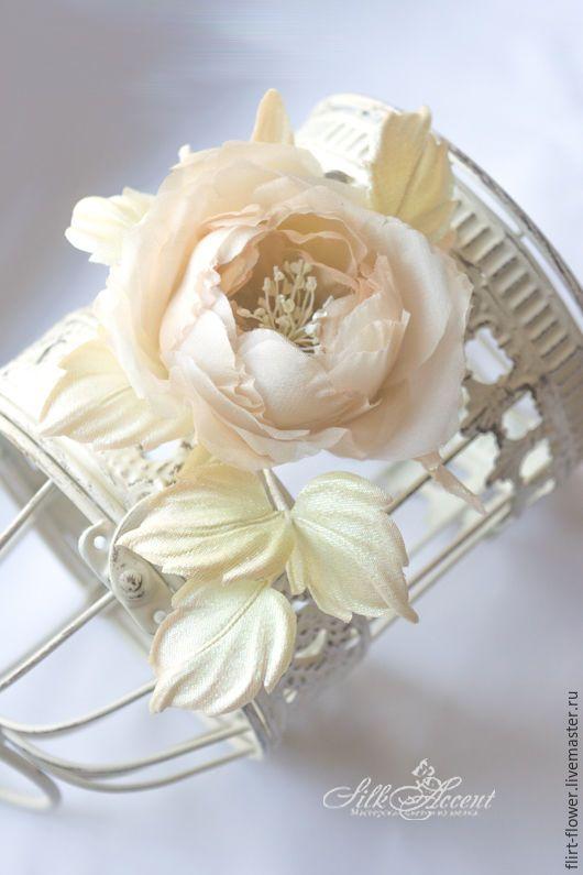 Купить Кремовая роза Bridal Caprice. Свадебные цветы из шелка - кремовый, айвори, белый