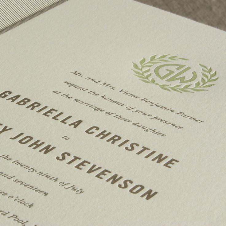 invitation letter for judging an event%0A Letterpress Embassy Laurel Wedding Invitation