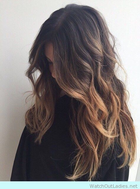 Super cute brunette balayage ombre with honey highlights