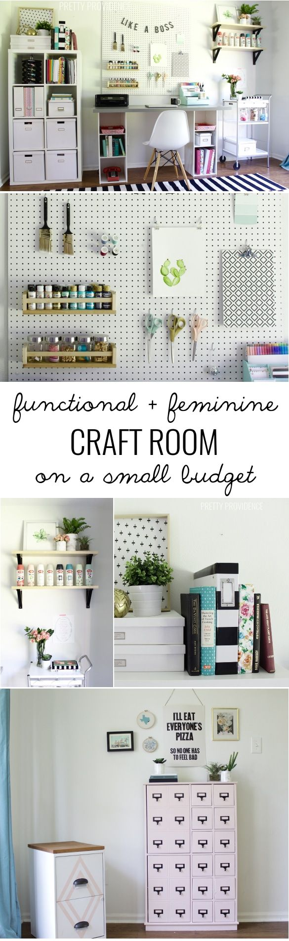 PRETTY craft room storage! There are tons of smart ideas in here and they are budget friendly! prettyprovidence.com