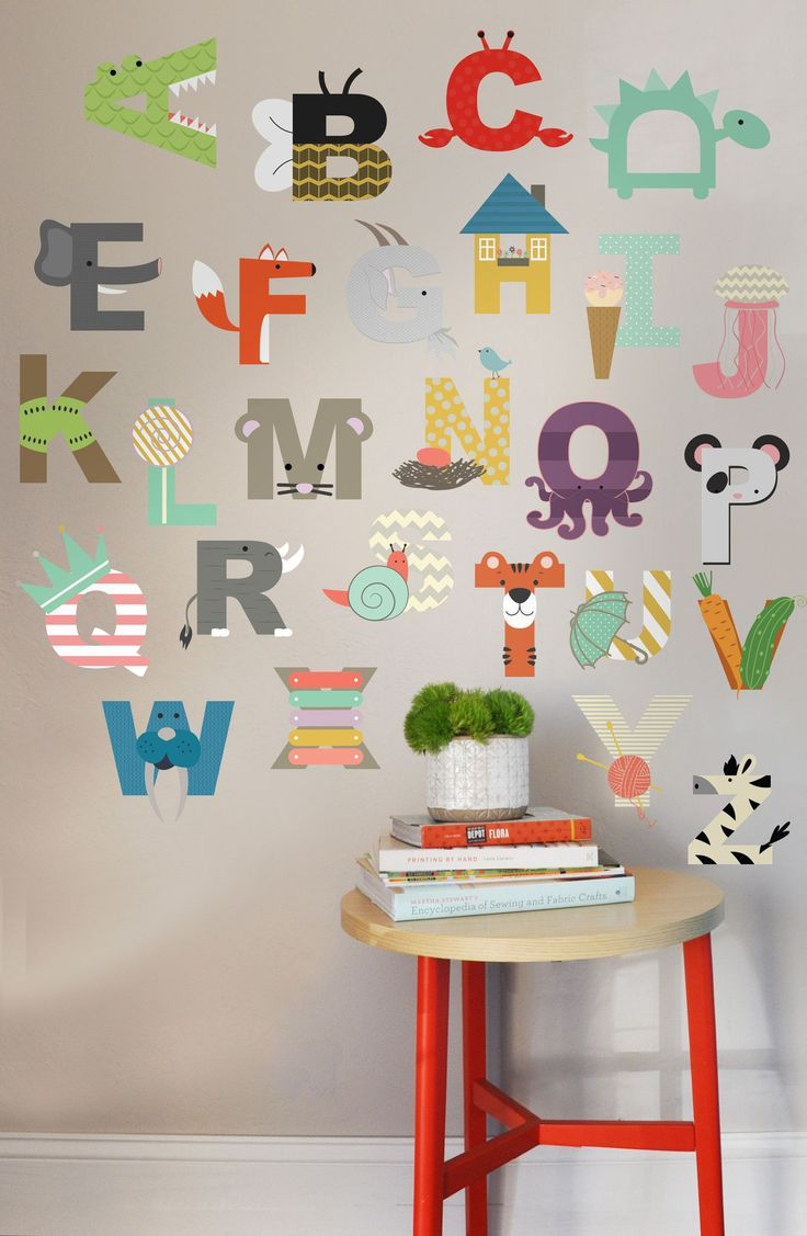 "26 INDIVIDUAL LETTERS - approx 6"" H Perfect for a children's room, nursery, or daycare. Fully removable and reusable wall decals that will brighten and add character to any room. -100% polyester fabri"