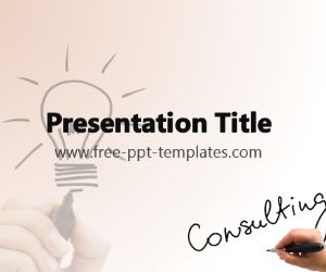 The free Consulting PowerPoint Template is a brown template with a background image of an idea sign.