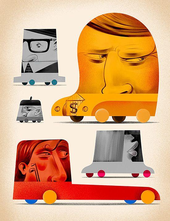 Editorial Illustrations by Paweł Jońca | Inspiration Grid | Design Inspiration