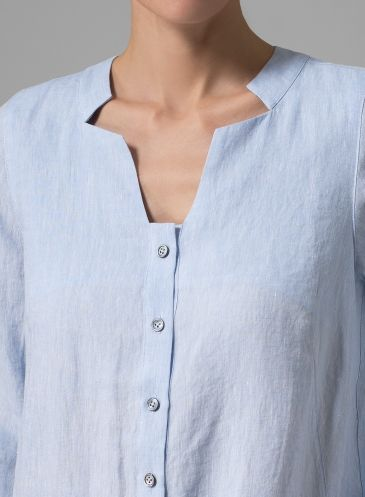 Linen Long Top Sky Blue, detail
