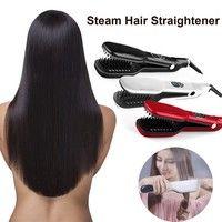 Wish | straightening brush Professional 3D steam Hair Straightener Comb Electric Iron ceramic