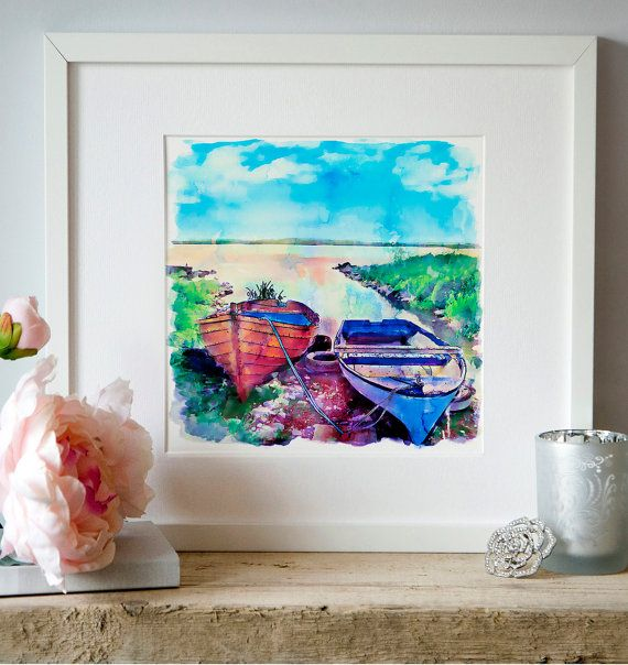 Two boats on the shore Watercolor painting Wall art by Artsyndrome