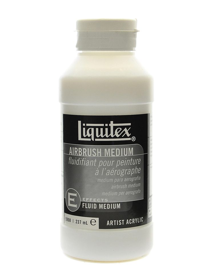 Liquitex Airbrush Medium sold at Mister Art. Liquitex Airbrush Medium thins acrylics to a sprayable consistency without affecting flexibility, durability, or adhesion. This ready to use, pre-mixed blend of acrylic emulsion, water, retarder, and Flow-Aid can be mixed with all Liquitex paint, mediums, and gesso--also watercolor or gouache. It is less expensive than fabric medium; use to thin Liquitex Soft Body paint (filtered) before adding Fabric Medium. myb