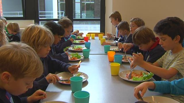 Vanaf dit schooljaar zijn alle warme maaltijden op basisschool Heilige Familie in Schaarbeek vegetarisch. Bijzonder is ook dat de kok de groenten zelf kweekt op het dak van de school. (Karrewiet)