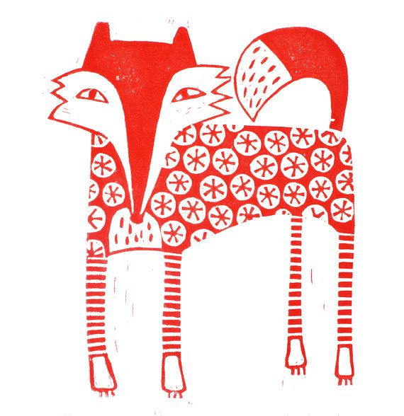Decorative red fox lino print